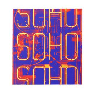 Neon Soho Sign Illuminated in London Notepad