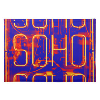 Neon Soho Sign Illuminated in London Placemat