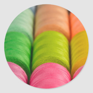 Neon Spools of Thread Classic Round Sticker