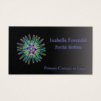 Neon Star Flower Psychic Services Card