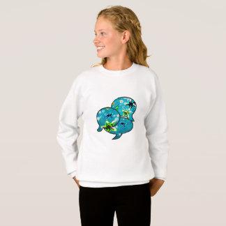 Neon starfish and flowers in bubbles sweatshirt