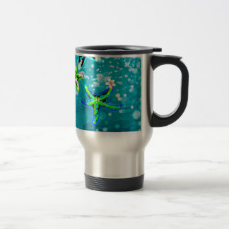 Neon starfish tropical flower bliss travel mug