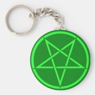 Neon style  green Pentacle pentagram Key Ring