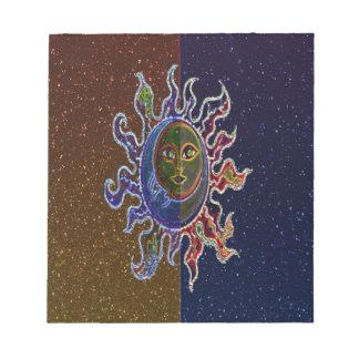 Neon Sun Moon Notepad