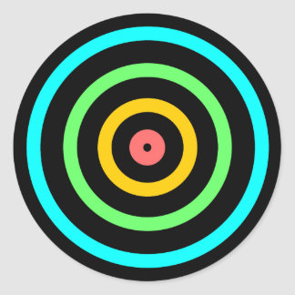 Neon Target Classic Round Sticker