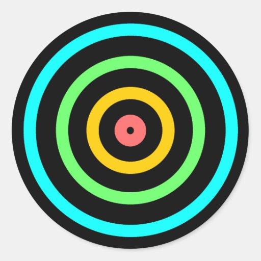 Neon Target Round Stickers