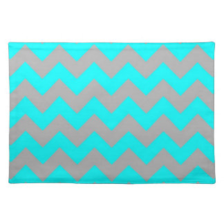 Neon teal blue gray chevron pattern place mat