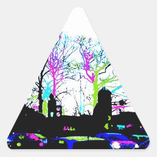 Neon Trees Urban Skyline cool original design Triangle Sticker