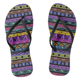 Neon Tribal Pattern Thongs