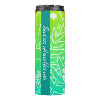 Neon Tropical Foliage Personalized Thermal Tumbler
