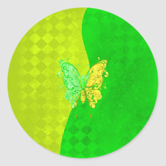 Neon Two Tone Butterfly in yellow and green Round Sticker
