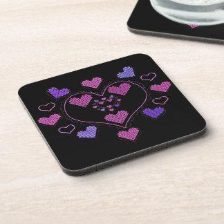 Neon Valentine Decorative Hearts Coaster Set