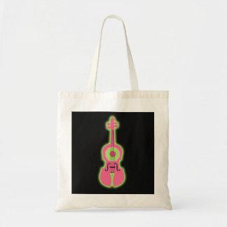Neon Violin Tote Bag