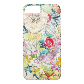 Neon Watercolor Flower iPhone 7 case