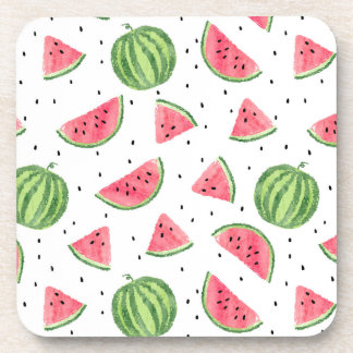 Neon Watercolor Watermelons Pattern Coaster