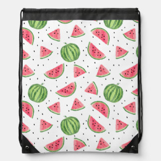 Neon Watercolor Watermelons Pattern Drawstring Bag