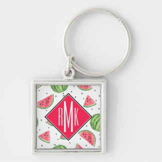 Neon Watercolor Watermelons Pattern Key Ring
