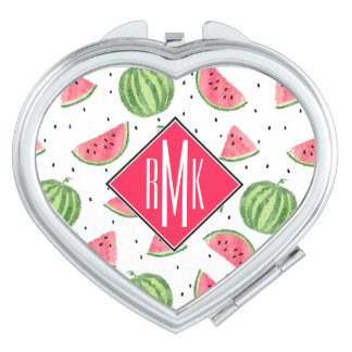 Neon Watercolor Watermelons Pattern Mirror For Makeup