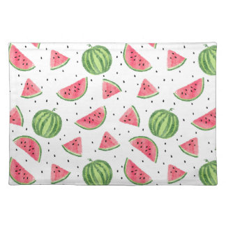 Neon Watercolor Watermelons Pattern Placemat