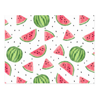Neon Watercolor Watermelons Pattern Postcard