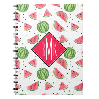 Neon Watercolor Watermelons Pattern Spiral Notebook