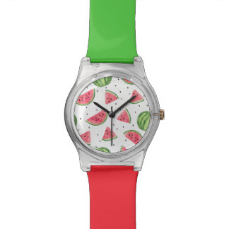 Neon Watercolor Watermelons Pattern Watch