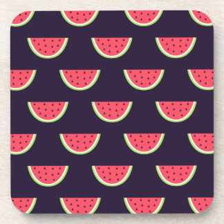 Neon Watermelon on Purple Pattern Coaster