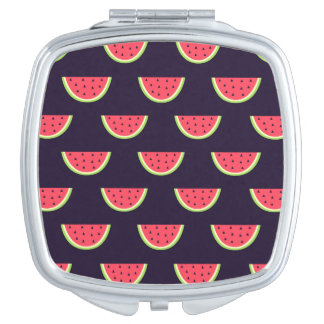 Neon Watermelon on Purple Pattern Compact Mirrors