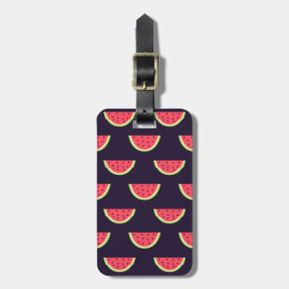 Neon Watermelon on Purple Pattern Luggage Tag