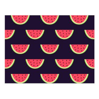 Neon Watermelon on Purple Pattern Postcard