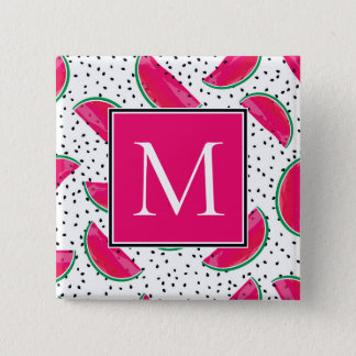 Neon Watermelon on Seeds Pattern 15 Cm Square Badge