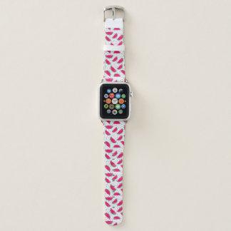 Neon Watermelon on Seeds Pattern Apple Watch Band
