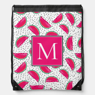 Neon Watermelon on Seeds Pattern Drawstring Bag
