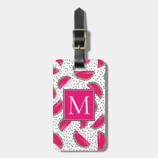 Neon Watermelon on Seeds Pattern Luggage Tag