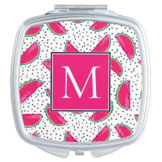 Neon Watermelon on Seeds Pattern Mirror For Makeup