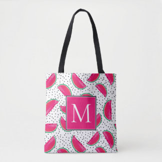 Neon Watermelon on Seeds Pattern Tote Bag