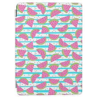 Neon Watermelon on Stripes Pattern