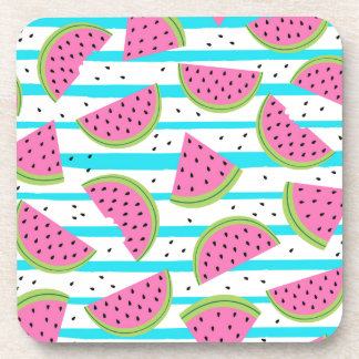 Neon Watermelon on Stripes Pattern Coaster