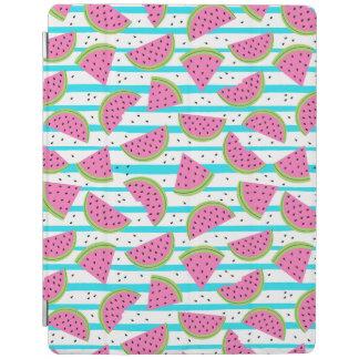 Neon Watermelon on Stripes Pattern iPad Cover