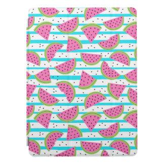 Neon Watermelon on Stripes Pattern iPad Pro Cover