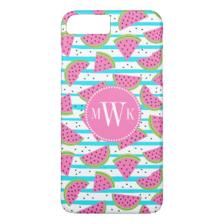 Neon Watermelon on Stripes Pattern iPhone 8 Plus/7 Plus Case