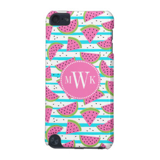 Neon Watermelon on Stripes Pattern iPod Touch (5th Generation) Case