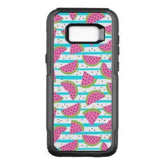 Neon Watermelon on Stripes Pattern OtterBox Commuter Samsung Galaxy S8+ Case