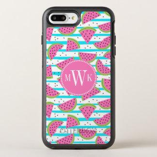Neon Watermelon on Stripes Pattern OtterBox Symmetry iPhone 8 Plus/7 Plus Case