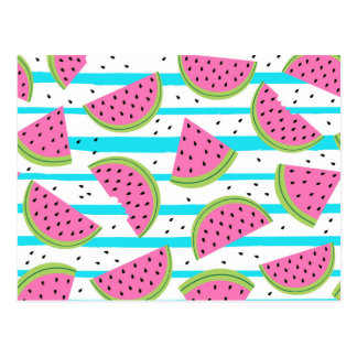 Neon Watermelon on Stripes Pattern Postcard