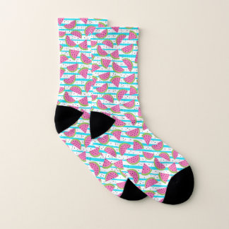 Neon Watermelon on Stripes Pattern Socks