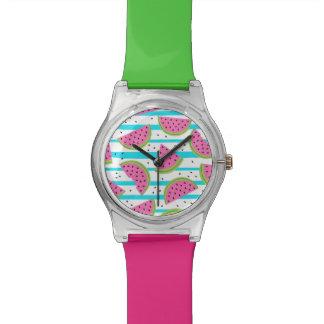 Neon Watermelon on Stripes Pattern Watch