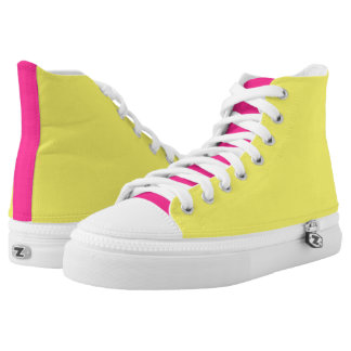 Neon Yellow And Pink Printed Shoes