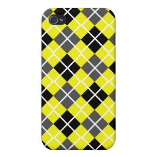 Neon Yellow, Black, Grey Argyle iPhone 4 Case