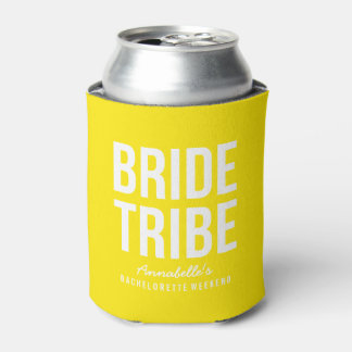 Neon Yellow Bride Tribe Can Cooler